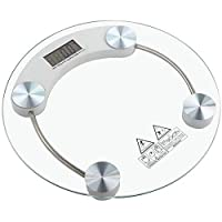 ‏‪Digital Body Weight Bathroom Scale, Tempered Glass, Precision Graduation: 0.1kg -150kg,Transparent Round‬‏