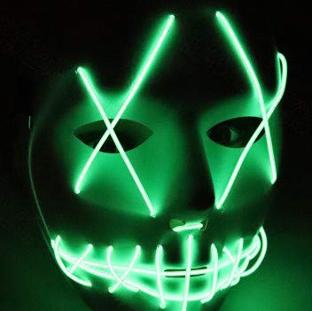 Halloween Mask LED Light Up Funny Masks The Purge Election Year Great Festival Cosplay Costume Supplies Party Masks Glow In Dark,Light Green
