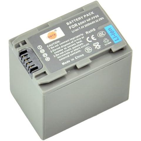DSTE® NP-FP90 Li-ion Batería para Sony NP-FP30, NP-FP60, NP-FP70, NP-FP71, NP-FP90 and Sony DCR-HC16, DCR-HC16E, DCR-HC17, DCR-HC17E, DCR-HC18, DCR-HC18E, DCR-HC19E, DCR-HC20, DCR-HC20E, DCR-HC21, DCR-HC21E, DCR-HC22E, DCR-HC23E, DCR-HC24E, DCR-HC26, DCR-HC26E, DCR-HC27E, DCR-HC28, DCR-HC30, DCR-HC30E, DCR-HC30G, DCR-HC30L, DCR-HC30S, DCR-HC32, DCR-HC32E, DCR-HC33E, DCR-HC35E, DCR-HC36, DCR-HC36E, DCR-HC39E, DCR-HC40, DCR-HC40E, DCR-HC40S, DCR-HC40W, DCR-HC41, DCR-HC42, DCR-HC42E, DCR-HC43E, DCR-HC44E, DCR-HC46, DCR-HC46E, DCR-HC65, DCR-HC85, DCR-HC85E, DCR-HC94E, DCR-HC96, DCR-HC96E, DCR-SR100, DCR-SR100E, DCR-SR30E, DCR-SR40, DCR-SR40E, DCR-SR50, DCR-SR50E, DCR-SR60, DCR-SR60E, DCR-SR70E, DCR-SR80, DCR-SR80E, DCR-SR90E