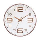 ufengke Rotgold 3D Große Ziffern Lautlos Wanduhr ohne Tickgeräusche Kreativ Quarzuhr Deko für Wohnzimmer Zimmer, Durchmesser 30cm