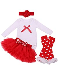 FEOYA - (juego de 4)Vestido de Tutú para Recién nacidos Bebés Niñas con Mangas Largas Banda de Pelo y Calcetines para Fiesta Ceremonia con Dinujo Fashion Diseño - Pajarita Roja - Talla 1-24meses