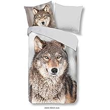 4 teilige Wolf Bettwäsche 135x200 cm Wölfe blau grau Microfaser B-Ware Set