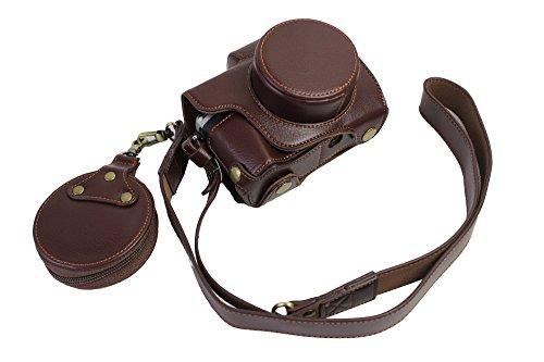 Voller Schutz Bottom Opening Version Echt Leder Kamera Tasche für Olympus OM-D E-M10 Mark 3 EM10 Mark III mit 14-42mm F3.5-5.6 EZ Objektiv Dunkelbraun (Omd Für Em10 Kamera-tasche Olympus)