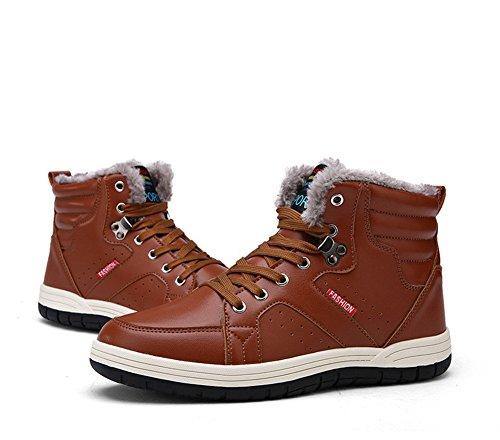 Stivaletti Uomo Invernali Stivali da Neve Inverno Stivaletto Pelle Impermeabile Scarpe Basse Caldo Pelliccia Boots Sneakers Marrone