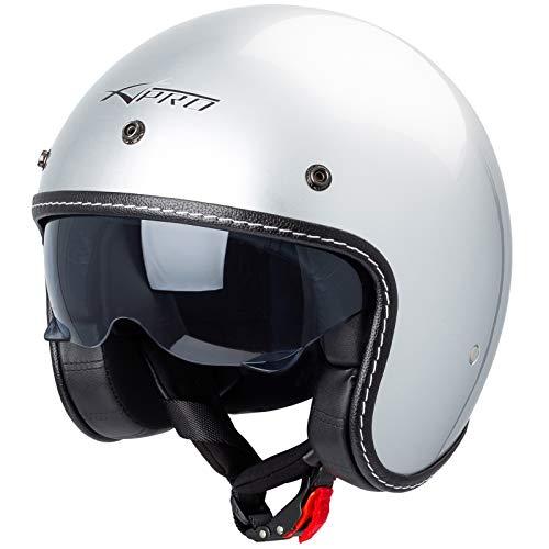 Motorrad Jet Helm Cafe Racer ECE 22-05 Sonnenblende Scooter Silber XL