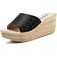 ae68262ed6f3a JITIAN Mules Femmes Talons Hauts Compensés, Sandale Ouverte Chaussure Plage  Confort Sandale Plateforme