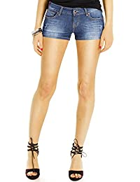 Bestyledberlin Basic Damen Hotpants, Kurze stretchige Denim Hosen, Baumwoll Jeans Shorts j98kw