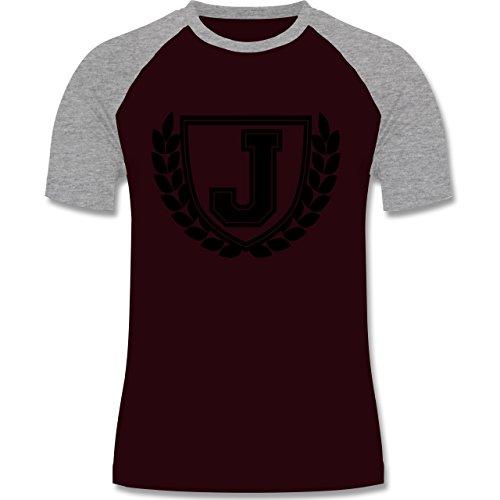 Anfangsbuchstaben - J Collegestyle - zweifarbiges Baseballshirt für Männer Burgundrot/Grau meliert