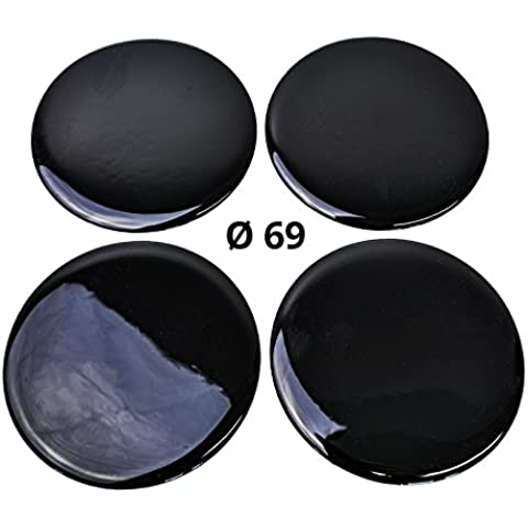 4x Silicona/Emblema para tapas de buje | Diseño de etiqueta: Black/Negro | Diámetro: 69mm