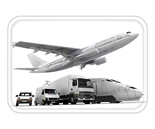 Cargo-chaps (HLKPE Doormat d Rendering of a Flying Plane a Truck a Lorry a Train and a Cargo Container 15.7X23.6 Inches/40X60cm)