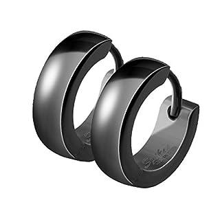 Mianova Unisex Creolen Edelstahl Damen Herren Klapp-Verschluss Schmale Ohrringe Huggie Kreolen Stecker Ohrstecker zum Klappen rund 4mm breit Schwarz