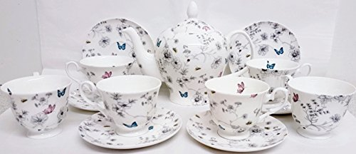 Secret Garden Ensemble à thé 13 pièces en porcelaine anglaise Fleurs Papillons abeilles Grande théière et 6 tasses et 6 soucoupes décorée à la main au Royaume-Uni