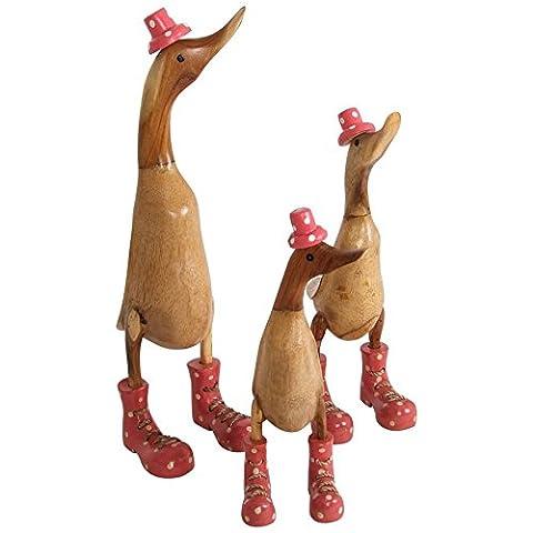 Deko-Holzenten-Familie 3er-Set Figur Hut Schnürstiefel Ente Skulptur Unikate