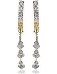 SKN Silver & Golden American Diamond Alloy Dangle & Drop Earrings For Women & Girls (SKN-3268)