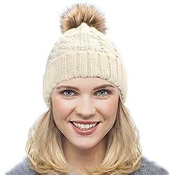 Dafunna Gorro de Punto Trenzado para Mujer con Pompón Sombrero de Invierno  Cálido Lana Beanie Grande a4606eb79f23
