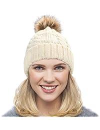Dafunna Gorro de Punto Trenzado para Mujer con Pompón Sombrero de Invierno  Cálido Lana Beanie Grande 5ff0331070e