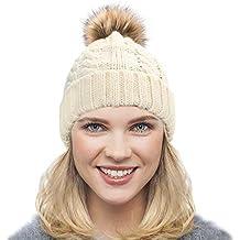 Dafunna Gorro de Punto Trenzado para Mujer con Pompón Sombrero de Invierno  Cálido Lana Beanie Grande ebbe80e49f1