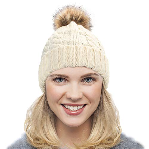 Dafunna Gorro de Punto Trenzado para Mujer con Pompón Sombrero de Invierno  Cálido Lana Beanie Grande 2ab8096fe46