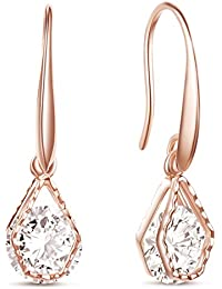 SHEGRACE Rose Gold Plated Hook Earrings, Pentagon with AAA Zircon, Rose Gold, 27mm