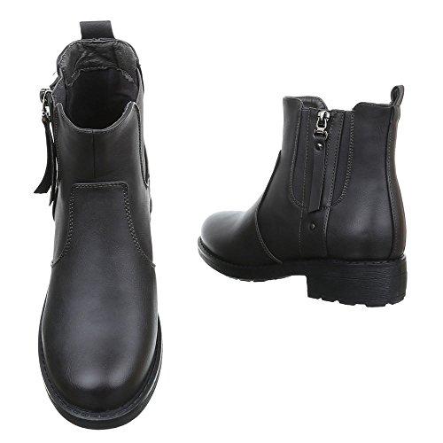Damen Schuhe Used Optik Schlupfstiefel Komfort Stiefeletten Stiefeletten Blockabsatz Grau