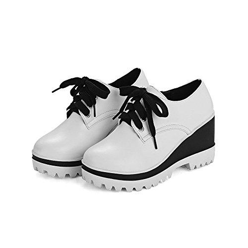 VogueZone009 Damen Weiches Material Schnüren Rund Zehe Hoher Absatz Rein Pumps Schuhe Weiß