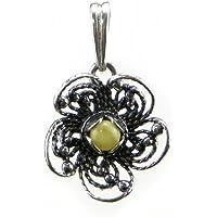 Burro Ambra Baltica Ciondolo a forma di fiore, in argento