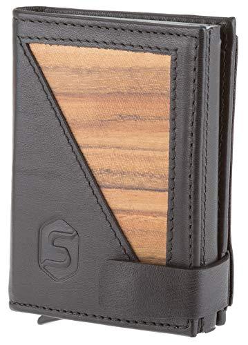 SEBASTIAN STURM Geldbörse mit RFID-Schutz »FIN« | Echtes Holz und Leder | Geldbeutel NFC-Blocker Portemonnaie Herren Damen (Amazaque/Schwarz) -