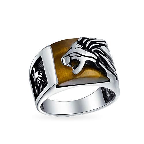Mens Edelstein Tigerauge Braun Große Roaring Lion Ringe Für Herren Solide 925 Sterling Silber Handarbeit In Der Türkei