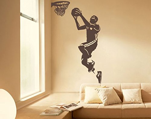 Adesivo murale no.UL1038 Basket Player At The Basket, Color:Hot Pink;Tamaño:147cm x 90cm