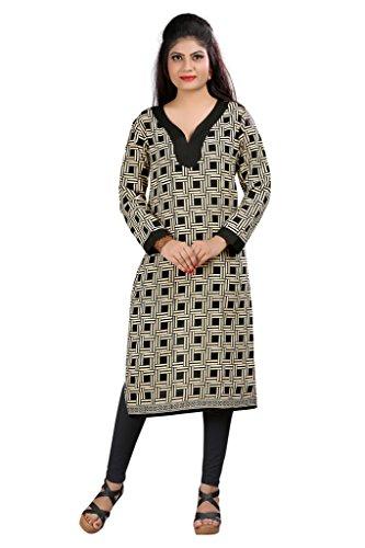 Kurti (Sai Fab Women\'s Cotton Printed Beige & Black Kurti) ( Free Size Altrable Till 40-42 OR L)