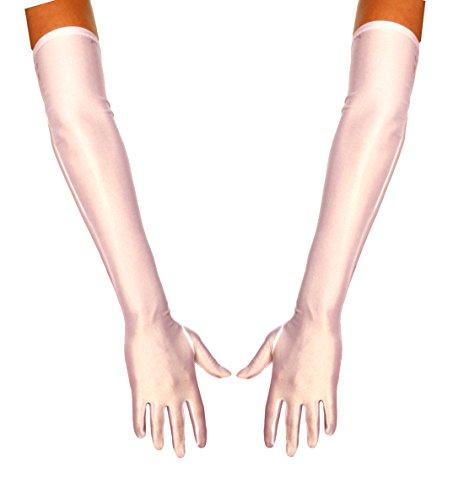 jowiha® Lange Satinhandschuhe in Schwarz Rot oder Weiß Einheitsgröße 53cm (Weiß)