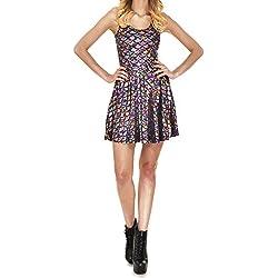 Vestido de mujer sin mangas Mxssi Vestido de escamas de color Sirena de impresión digital Vestido Multicolor S