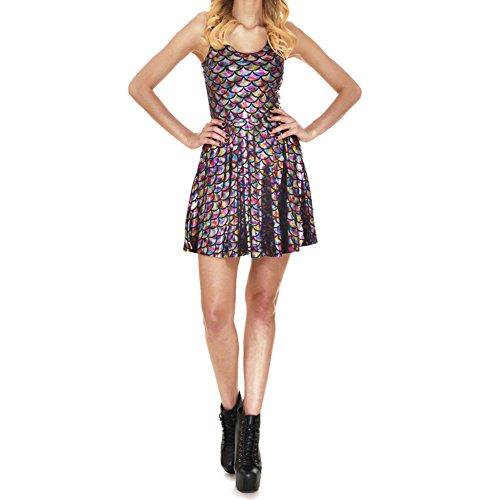 Damen Mermaid Sling Kleid - Frauen Fischschuppe Drucken Kleiden Fisch Skala Enges Kleid Pailletten Ärmellose Partykleid S-4XL (Sie Wie 80er-jahre-mädchen Die Sich Kleiden)