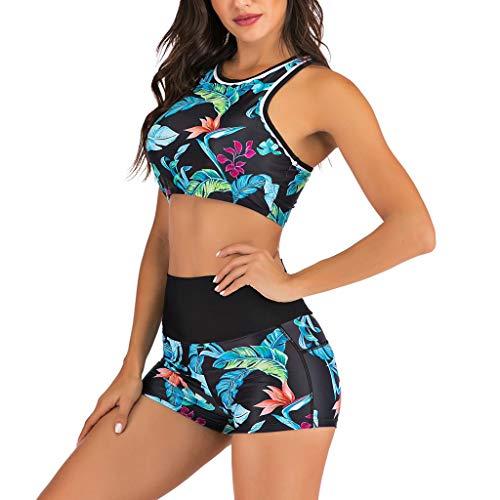 Bañador Deportivo Mujer, Dragon868 Dos Piezas Floral Impresión Traje de Baño 2020 Mujer Conjunto...