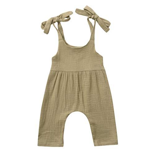 JUTOO Sommer Kleinkind Neugeborenen Kinder Baby Jungen Mädchen Einfarbig Spielanzug Overall Kleidung (Khaki 2,80)