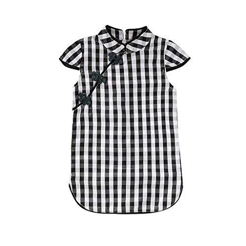 LEXUPE Kid Baby Girl Floral Kurzarm Cheongsam Party Prinzessin Kleid Kleidung(Schwarz,70)