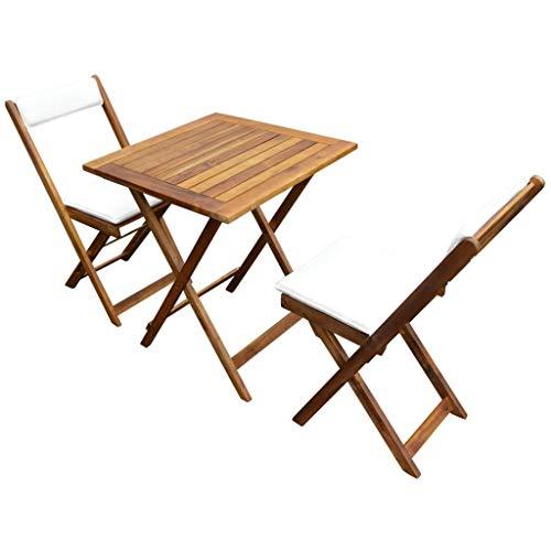 Festnight Bistro-Set mit Kissen 7-TLG. | Holz Balkon-Set | Klappbar Terassen Set | Balkongarnitur | Gartenmöbel Set 2 Klappstühle&1 Klapptisch | Massivholz Akazie
