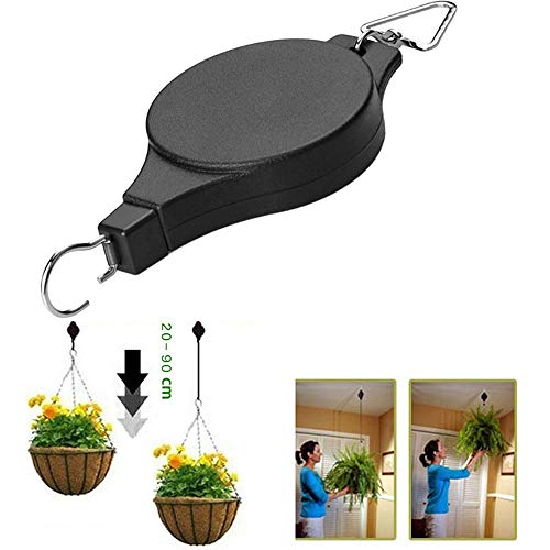 r 5pcs Retractable Pulley Hanging Basket Pull Down Hanger Garden Plant Pots Hook (B) ()