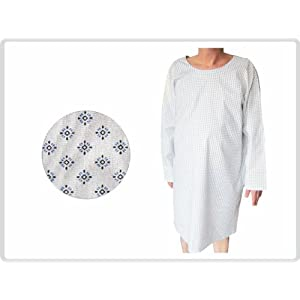 Krankenhemd, schwarz-blau gemustert – Pflegehemd, Nachthemd, Patientenhemd, Flügelhemd fuer Erwachsene