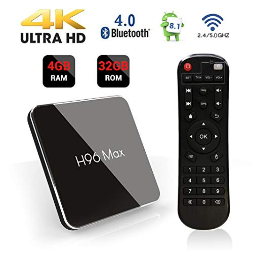 H96 MAX TV Box Android 8.1 Amlogic S905X2 Quad Core 64bit CPU 4GB DDR4 + 32GB EMMC Android TV Box Support Bluetooth 4.0 2.4G/5.8GHz Dual Band WiFi 100M LAN 3D 4K Ultra HD Smart TV Box