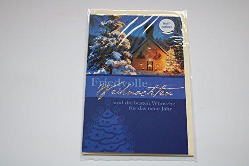 Weihnachtskarte Glückwunschkarte Neues Jahr Geschenkskarte Geldgeschenkbeutel Friedvolle Weihnachten und die besten Wünsche für das neue Jahr - Karte mit Umschlag beige - 308