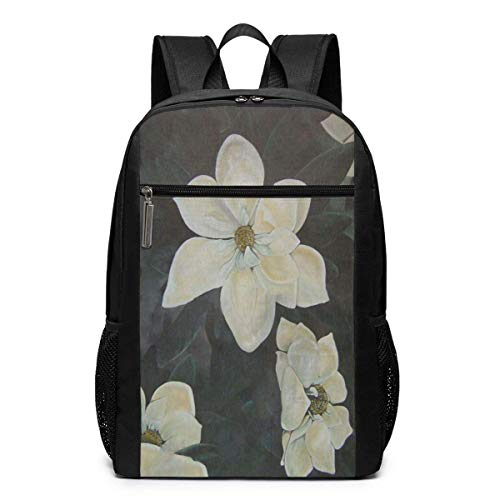 TRFashion Rucksack Flowers Magnolia Gardenia 17 Inch Extra Large Travel Laptop Backpack Schoolbag Book Bag for Men Women Black - Spade Kate Notebook-tasche