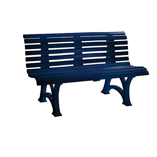 BLOME Parkbank aus Kunststoff – mit 13 Leisten – Breite 1500 mm, stahlblau – Bank Gartenbank Kunststoff-Bank Kunststoff-Bänke Ruhebank