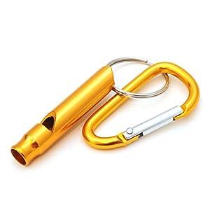 compacte pour dressage de chien/Sifflet d'entraînement avec mousqueton, sifflet de survie pour extérieur/Survival, Couleur?: Or-Ganzoo comme porte-clés