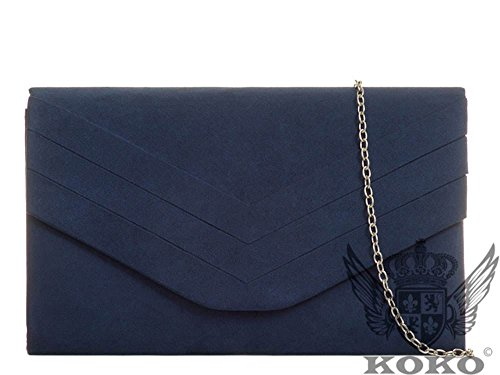 Hautefordiva , Damen Clutch blau M navy