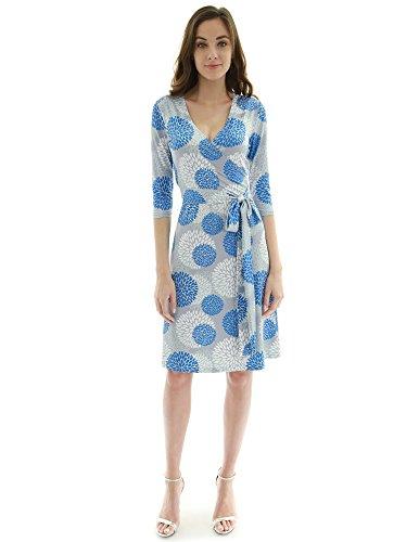 PattyBoutik Damen geometrisches faux wrap Sonnenkleid mit V-Ausschnitt  (hellgrau, blau und weiß eda426e9c2