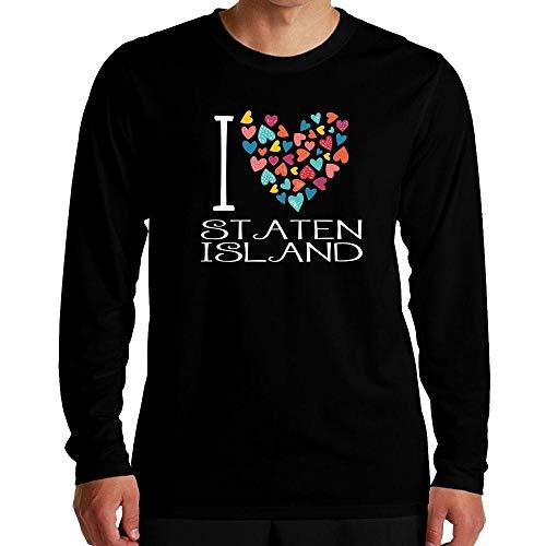 Idakoos I Love Staten Island Colorful Hearts Langarm T-Shirt M