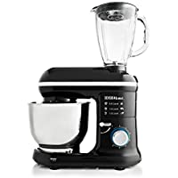 Sensio Home 2-in-1 Food Processor Blender & Stand Mixer Machine - 1000W Electric Motor - Dough Hook, Whisk, Beater, Splash Guard, 6-Speed - 4.5 Litre Stainless Steel Mixing Bowl - 1.5L Glass Blender Jug
