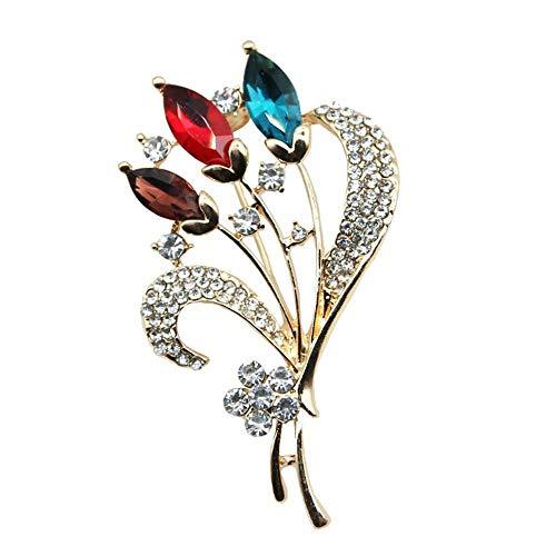 Olydmsky Brosche Farbiges Glas Kristall Legierung weibliche Blumenbrosche mit Diamant-Spinne-Brosche