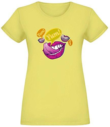 Harma Art Yum T-Shirt für Frauen - 100% Weiche Baumwolle - Benutzerdefinierte Bedruckte Damenbekleidung Small (Lip Color-sweet)
